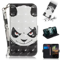 Angry Bear 3D Painted Leather Wallet Phone Case for Nokia 6.1
