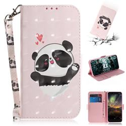 Heart Cat 3D Painted Leather Wallet Phone Case for Nokia 6.1