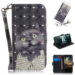 Cat Embrace 3D Painted Leather Wallet Phone Case for Nokia 6.1