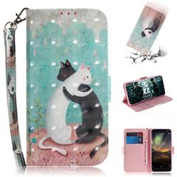 Black and White Cat 3D Painted Leather Wallet Phone Case for Nokia 6.1