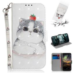 Cute Tomato Cat 3D Painted Leather Wallet Phone Case for Nokia 6.1