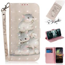 Three Squirrels 3D Painted Leather Wallet Phone Case for Nokia 6.1