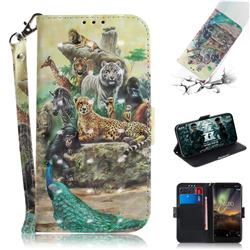 Beast Zoo 3D Painted Leather Wallet Phone Case for Nokia 6.1