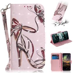 Butterfly High Heels 3D Painted Leather Wallet Phone Case for Nokia 6.1