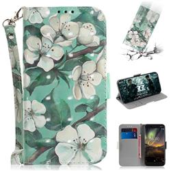 Watercolor Flower 3D Painted Leather Wallet Phone Case for Nokia 6.1