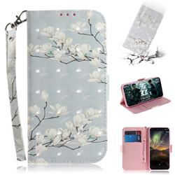 Magnolia Flower 3D Painted Leather Wallet Phone Case for Nokia 6.1