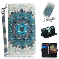 Peacock Mandala 3D Painted Leather Wallet Phone Case for Nokia 6.1