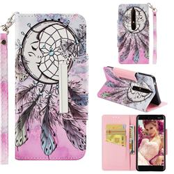 Angel Monternet Big Metal Buckle PU Leather Wallet Phone Case for Nokia 6.1