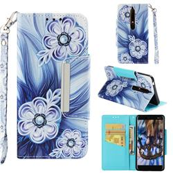 Button Flower Big Metal Buckle PU Leather Wallet Phone Case for Nokia 6.1