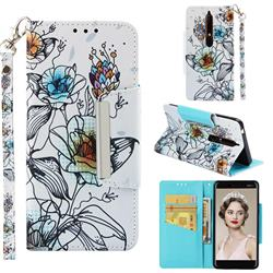 Fotus Flower Big Metal Buckle PU Leather Wallet Phone Case for Nokia 6.1
