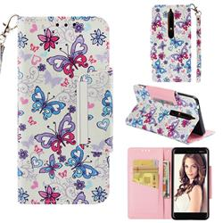 Colored Butterfly Big Metal Buckle PU Leather Wallet Phone Case for Nokia 6.1