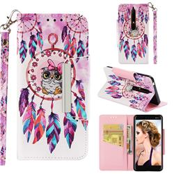 Owl Wind Chimes Big Metal Buckle PU Leather Wallet Phone Case for Nokia 6.1