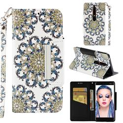 Phoenix Tail Big Metal Buckle PU Leather Wallet Phone Case for Nokia 6.1
