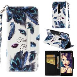 Peacock Feather Big Metal Buckle PU Leather Wallet Phone Case for Nokia 6.1