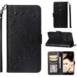 Embossing Fireworks Elephant Leather Wallet Case for Nokia 6.1 - Black
