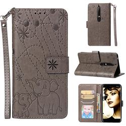 Embossing Fireworks Elephant Leather Wallet Case for Nokia 6.1 - Gray