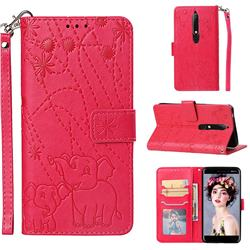 Embossing Fireworks Elephant Leather Wallet Case for Nokia 6.1 - Red