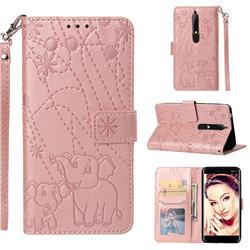 Embossing Fireworks Elephant Leather Wallet Case for Nokia 6.1 - Rose Gold