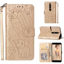 Embossing Fireworks Elephant Leather Wallet Case for Nokia 6.1 - Golden