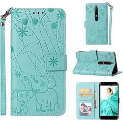 Embossing Fireworks Elephant Leather Wallet Case for Nokia 6.1 - Green
