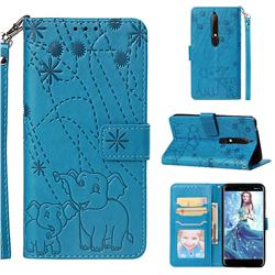 Embossing Fireworks Elephant Leather Wallet Case for Nokia 6.1 - Blue