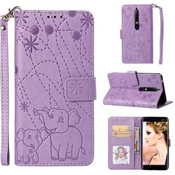 Embossing Fireworks Elephant Leather Wallet Case for Nokia 6.1 - Purple