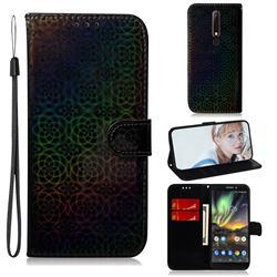 Laser Circle Shining Leather Wallet Phone Case for Nokia 6.1 - Black