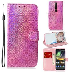 Laser Circle Shining Leather Wallet Phone Case for Nokia 6.1 - Pink