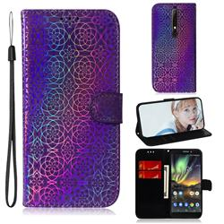 Laser Circle Shining Leather Wallet Phone Case for Nokia 6.1 - Purple
