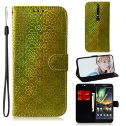 Laser Circle Shining Leather Wallet Phone Case for Nokia 6.1 - Golden