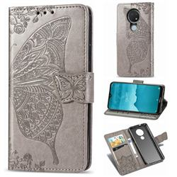 Embossing Mandala Flower Butterfly Leather Wallet Case for Nokia 6.2 (6.3 inch) - Gray
