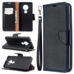 Classic Luxury Litchi Leather Phone Wallet Case for Nokia 6.2 (6.3 inch) - Black