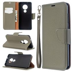 Classic Luxury Litchi Leather Phone Wallet Case for Nokia 6.2 (6.3 inch) - Gray