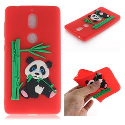 Panda Eating Bamboo Soft 3D Silicone Case for Nokia 7 - Red