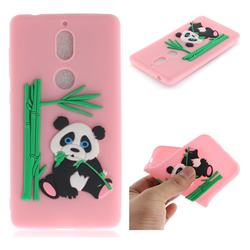 Panda Eating Bamboo Soft 3D Silicone Case for Nokia 7 - Pink