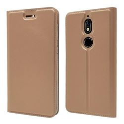 Ultra Slim Card Magnetic Automatic Suction Leather Wallet Case for Nokia 7 - Rose Gold