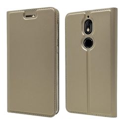 Ultra Slim Card Magnetic Automatic Suction Leather Wallet Case for Nokia 7 - Champagne