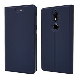 Ultra Slim Card Magnetic Automatic Suction Leather Wallet Case for Nokia 7 - Royal Blue