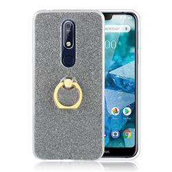 Luxury Soft TPU Glitter Back Ring Cover with 360 Rotate Finger Holder Buckle for Nokia 7.1 - Black