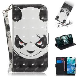 Angry Bear 3D Painted Leather Wallet Phone Case for Nokia 7.1