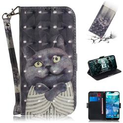 Cat Embrace 3D Painted Leather Wallet Phone Case for Nokia 7.1