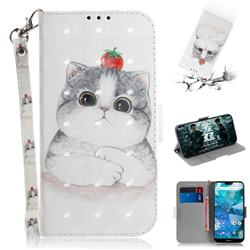 Cute Tomato Cat 3D Painted Leather Wallet Phone Case for Nokia 7.1