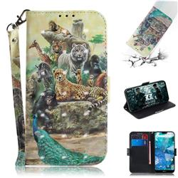 Beast Zoo 3D Painted Leather Wallet Phone Case for Nokia 7.1