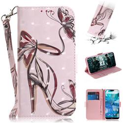 Butterfly High Heels 3D Painted Leather Wallet Phone Case for Nokia 7.1
