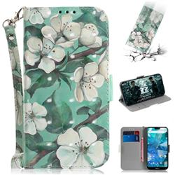 Watercolor Flower 3D Painted Leather Wallet Phone Case for Nokia 7.1
