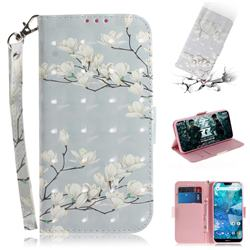 Magnolia Flower 3D Painted Leather Wallet Phone Case for Nokia 7.1
