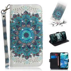Peacock Mandala 3D Painted Leather Wallet Phone Case for Nokia 7.1