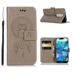 Intricate Embossing Owl Campanula Leather Wallet Case for Nokia 7.1 - Grey