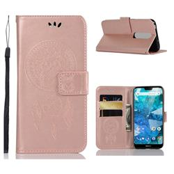 Intricate Embossing Owl Campanula Leather Wallet Case for Nokia 7.1 - Rose Gold