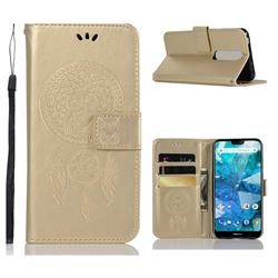 Intricate Embossing Owl Campanula Leather Wallet Case for Nokia 7.1 - Champagne